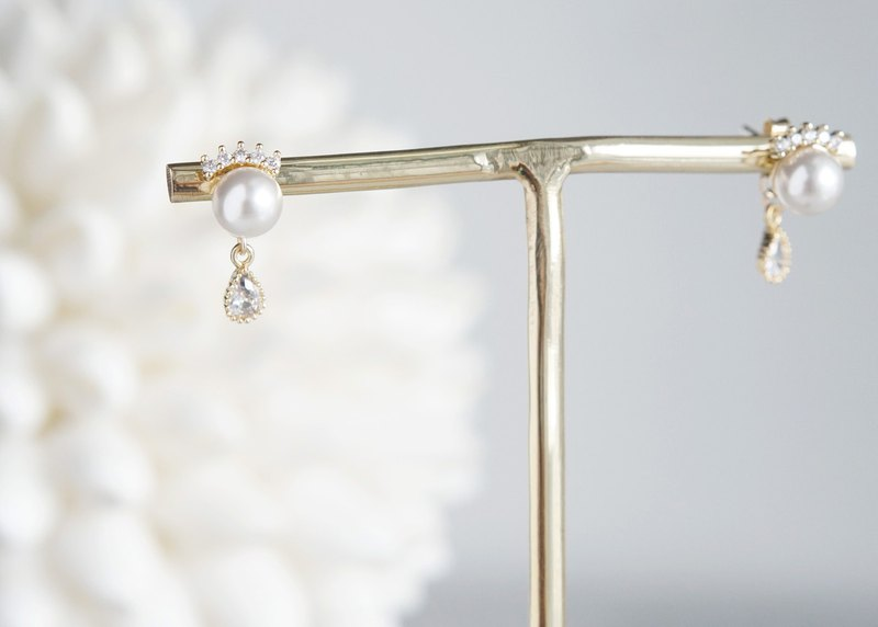2 way Cubic Zirconia Tiara Stud Earrings, Swarovski Pearl