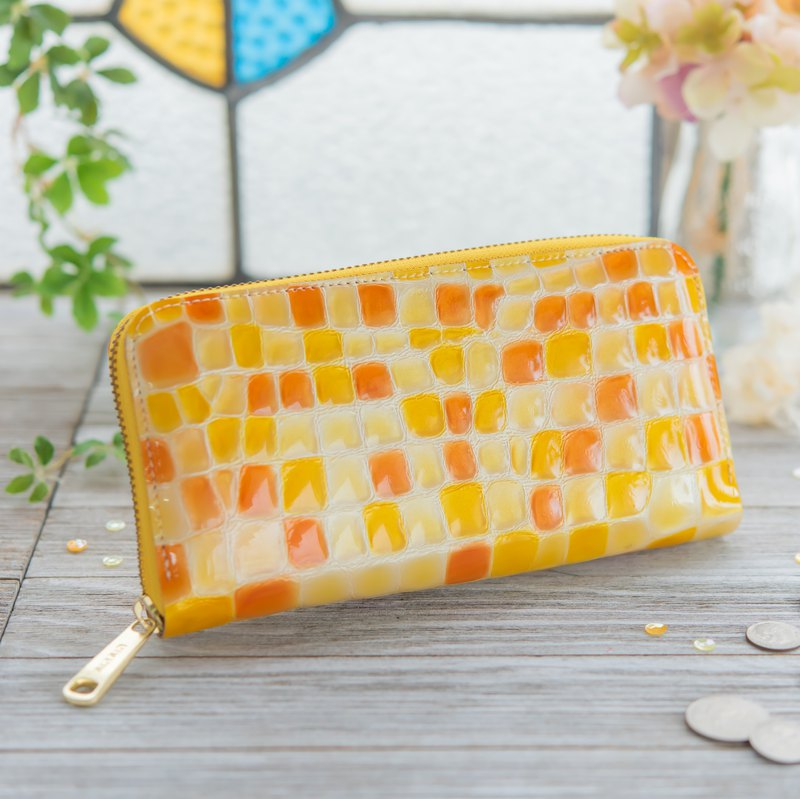 Made in Japan Cowhide dressing coloring glassy orange made in JAPAN handmade leather wallet