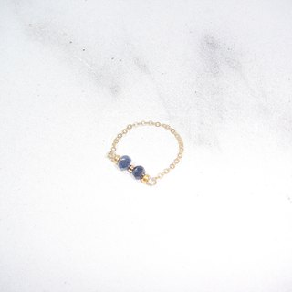 Gemini blue chalcedony 14K gold finger chain / ring