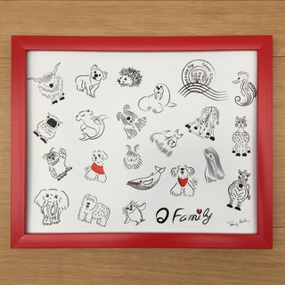 Q Family Mao children family figure 10 吋 photo frame - red