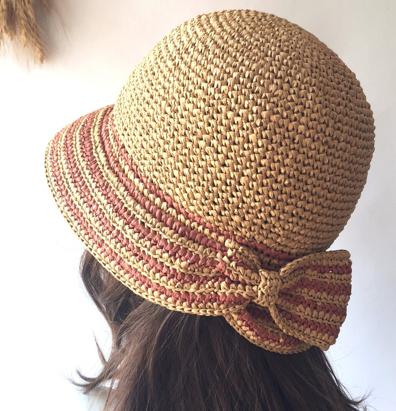 Birds and flowers lyrical weaving summer sun hat / knit hat / straw hat / bow / paper Raffia