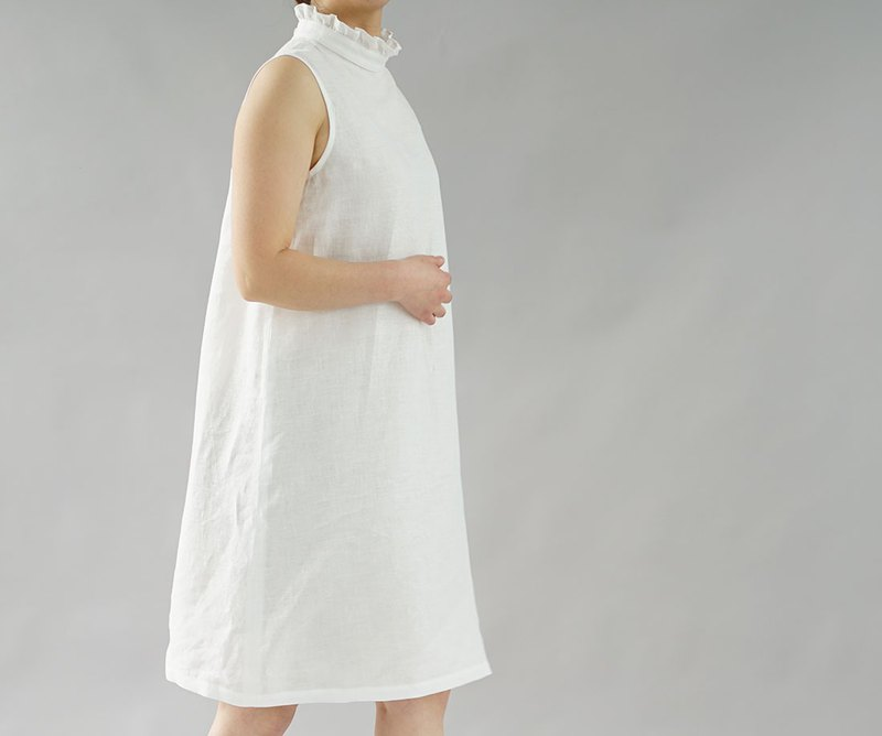 wafu - 純亞麻衬裙 Lightweight Linen Ruffle-neck Inner Dress / White p009a-wht2