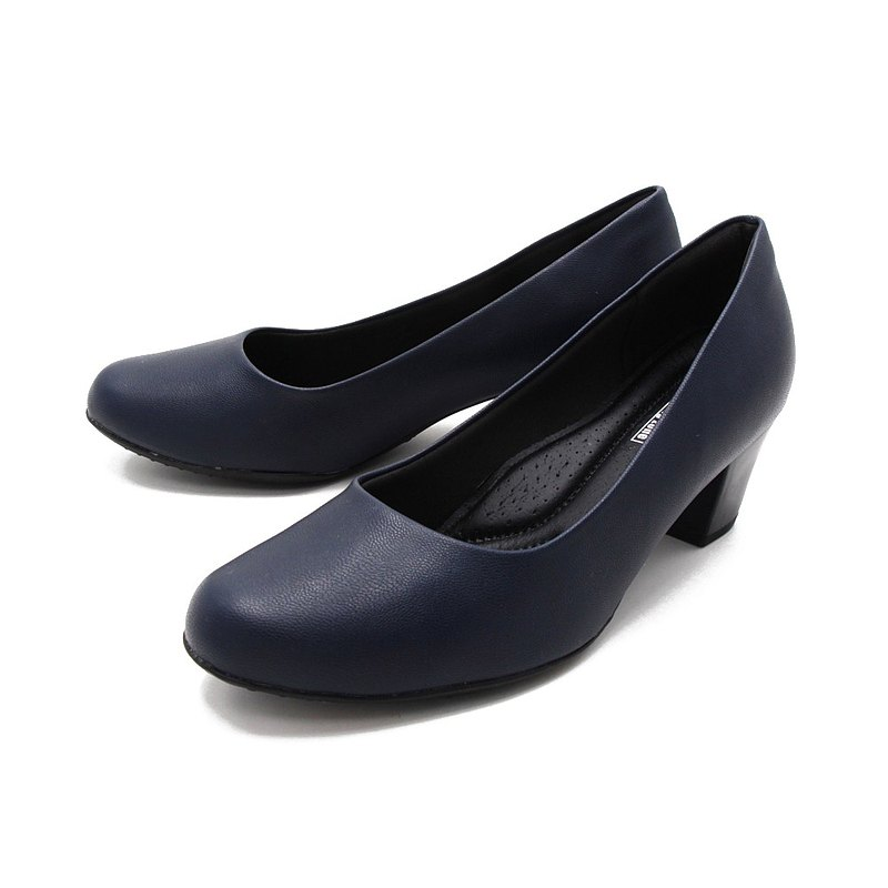 WALKING ZONE SUPER WOMAN series round toe plain mid-heel ladies shoes working shoes-blue