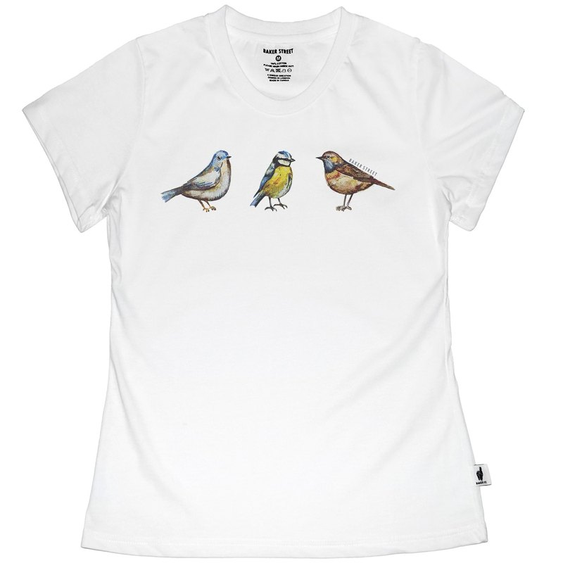 British Fashion Brand -Baker Street- Birds Printed T-shirt