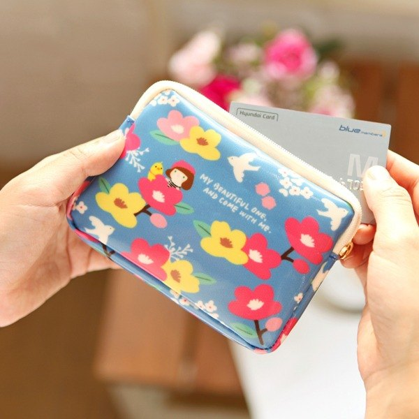 Hello Jenny Flower Card Wallet 02. Blue