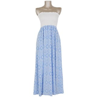 Ikat print tube top long dress <light blue>