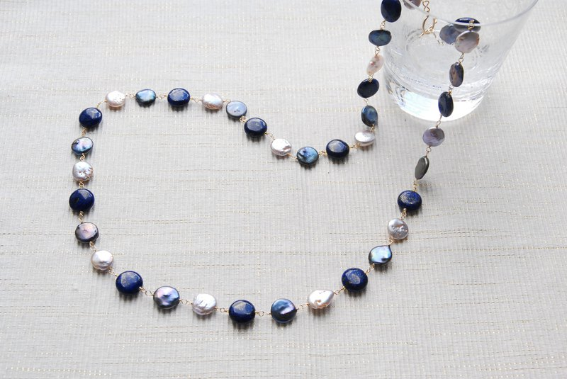 Lapis lazuli and two kinds of pearl winter necklace 14kgf