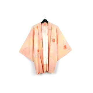 Back to Green-Japan brought back feather weave smudged peach/vintage kimono