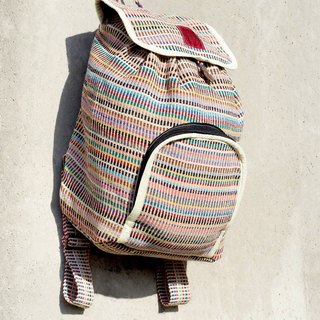 A limited edition hand-woven natural rainbow colorful canvas bag / backpack / backpacks / shoulder bag / bag - Natural colors feel goose yellow rice