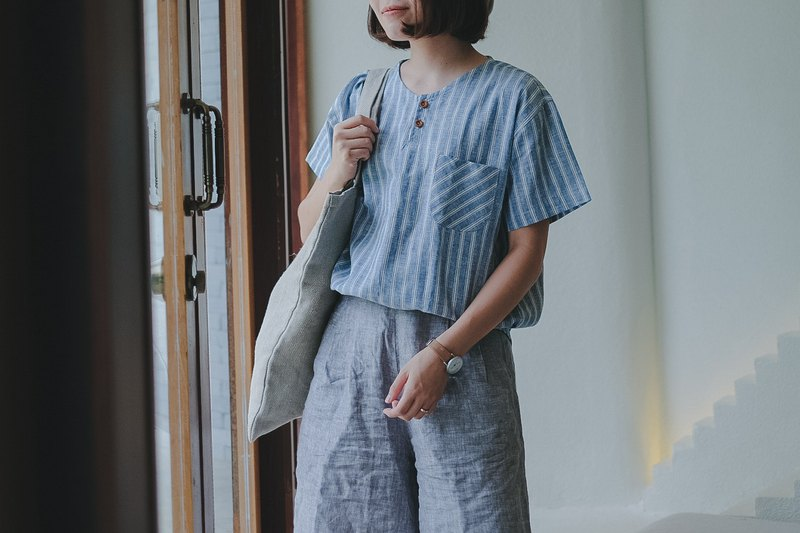 Michi Blouse 棉亞麻藍色blue