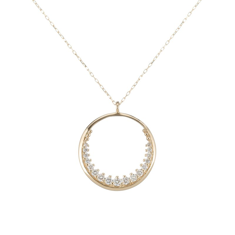 Crescent K Gold Diamond Necklace-Valentine's Choice