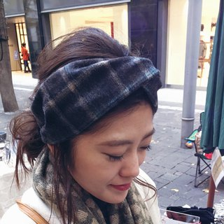 wool  hairband check pattern gray blue