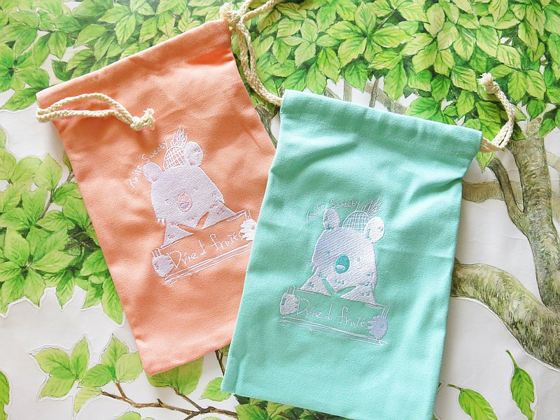 Happiness design-Wanglai bear embroidery beam mouth canvas bag
