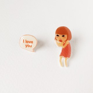 Small Q Series - Scream I love you red handmade goods original illustration love shout / pin brooch gift