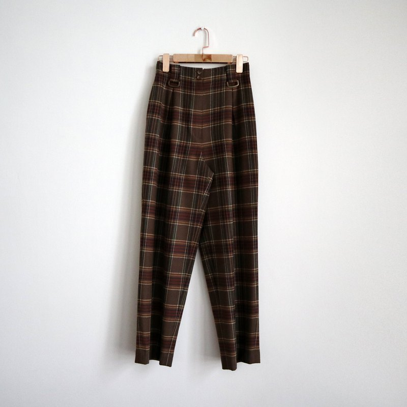 Pumpkin Vintage. Ancient brown plaid wool trousers