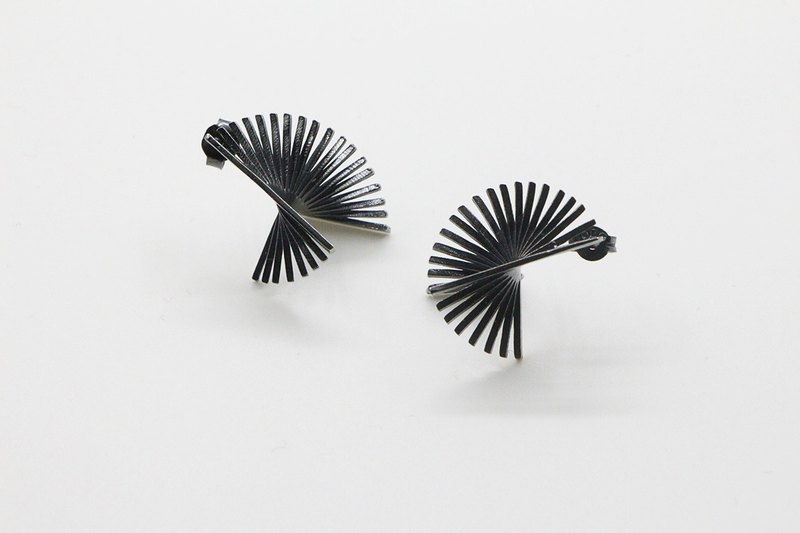3D Line series Infinite Line 925 oxidised silver earrings