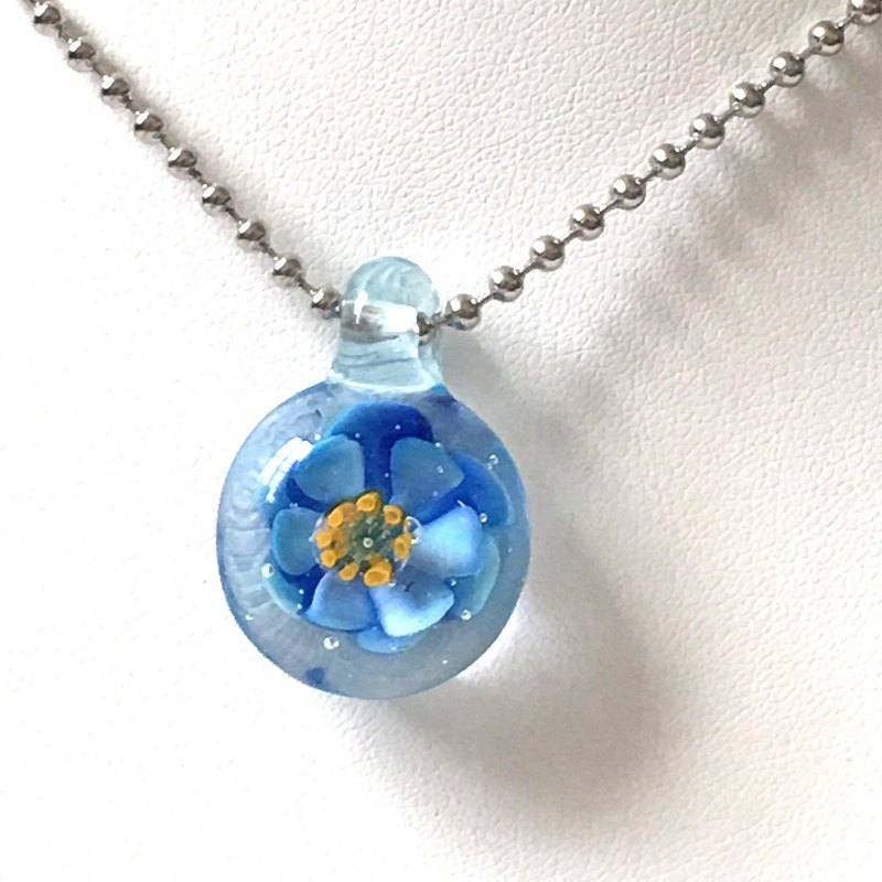 Blue Glass Flower Necklace - Glass Water Flower Series