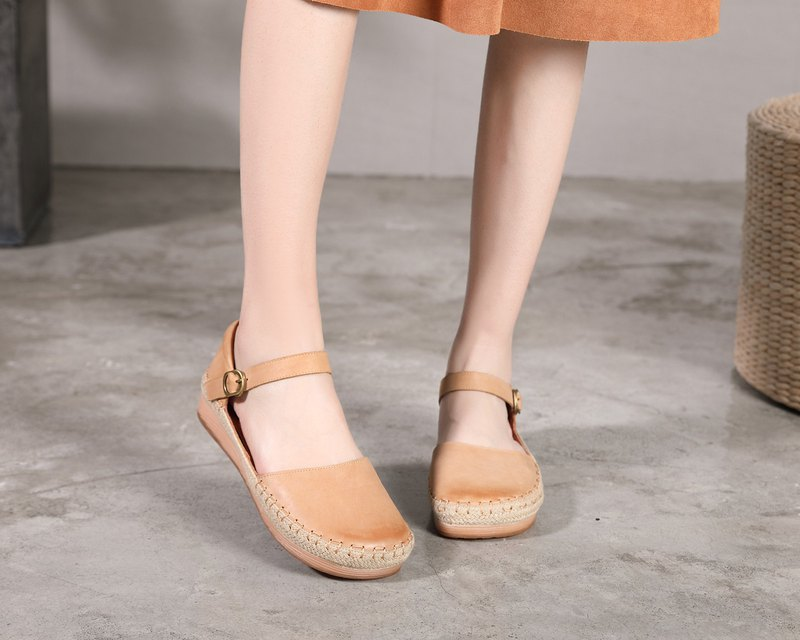 Vintage linen leather shoes flat shoes brown