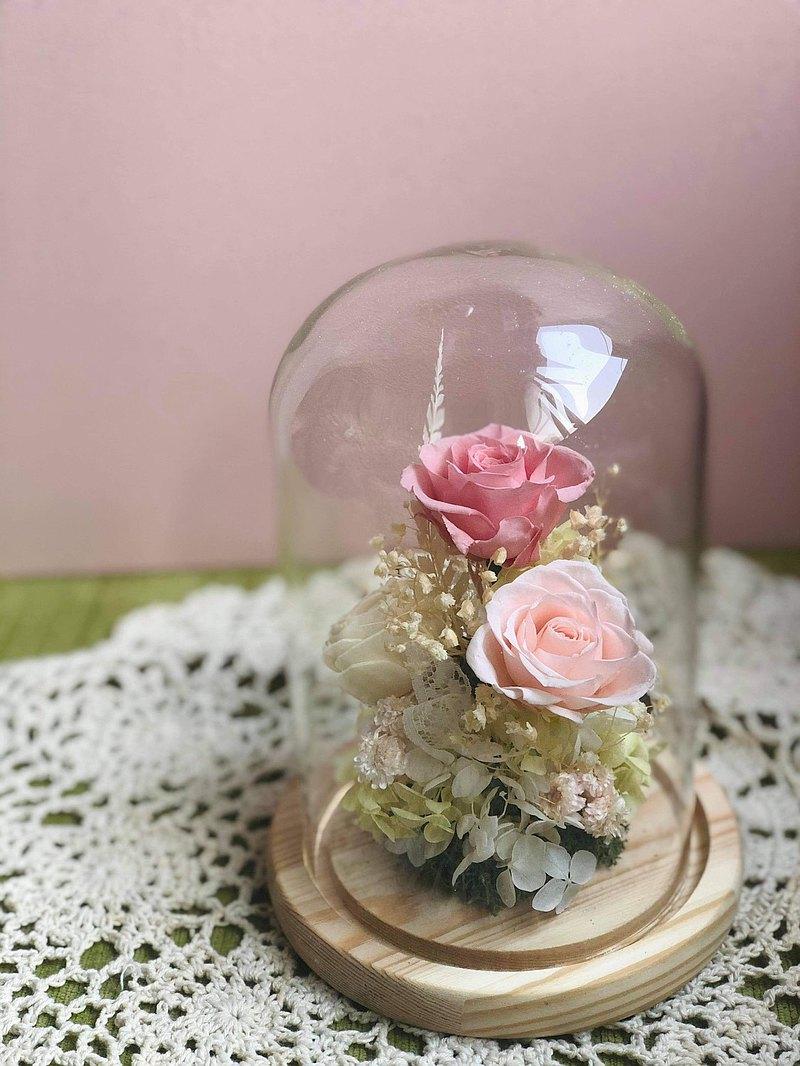 【不凋玻璃罩桌花】母親節/畢業/情人節/不凋花/玫瑰/交換禮物