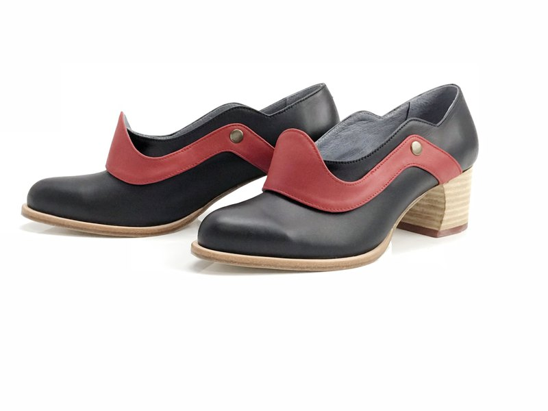 Mountain mist  (black red mid heels handmade leather shoes)