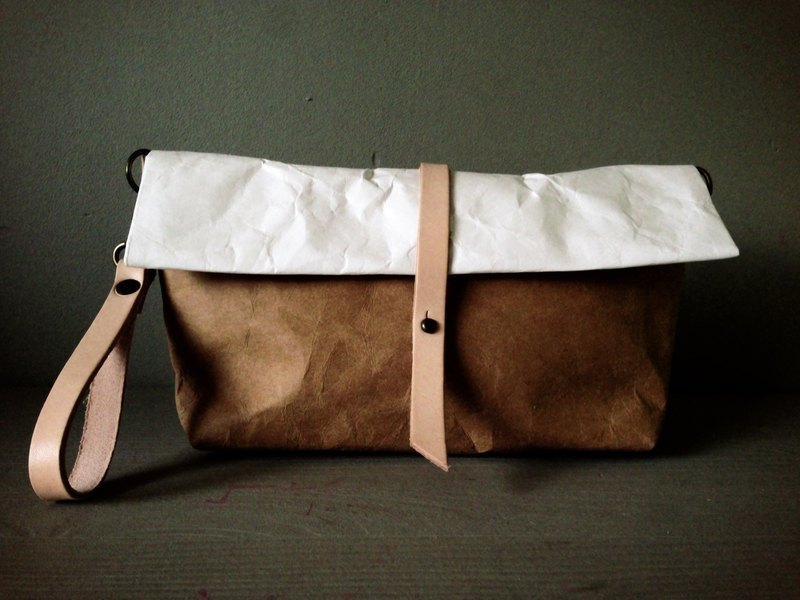 Crossbody Roll Bag : Tyvek and Kraft paper bag long strap