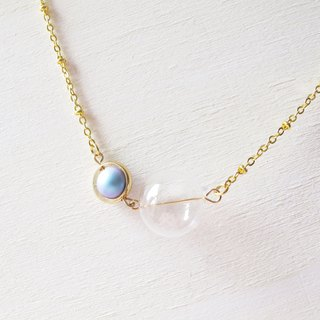 Rosy Garden glass ball with light blue cotton pearl necklace