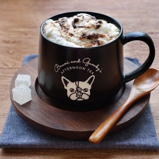 French Bulldog Coffee Mug with Wooden Saucer and Spoon-**BLACK**【3-Piece Set】
