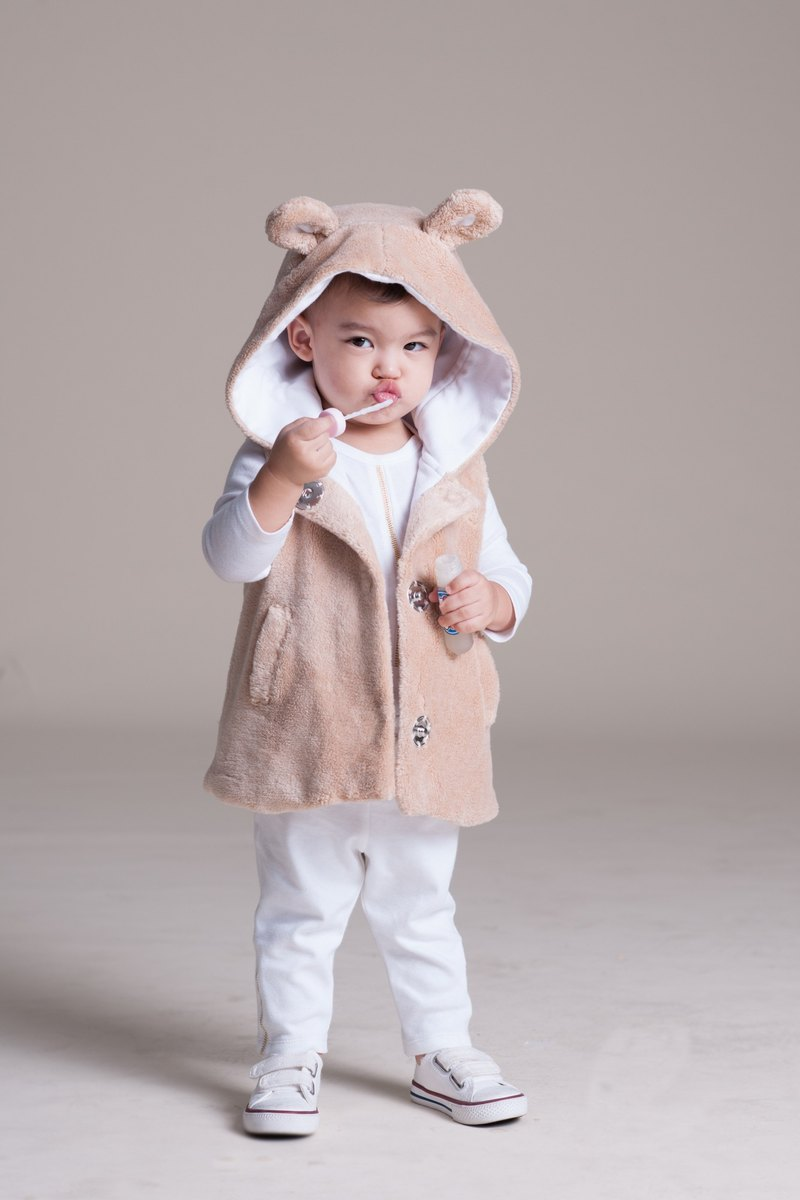 Faux Fur Hooded Vest with bear' ears  - 100% organic cotton