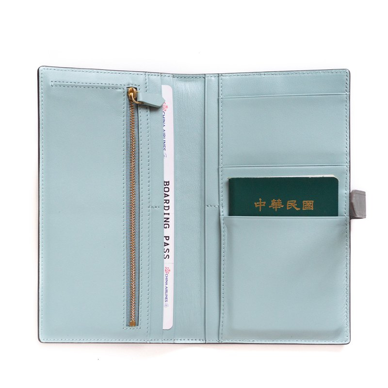 Patina leather custom-made snap double passport holder