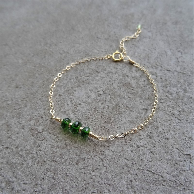 Chrome Diopside Faceted Rondelles 14K GF Layering Bracelet | Emerald Green