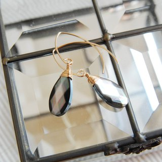 High quality black shell marquis hook earrings 14 kgf