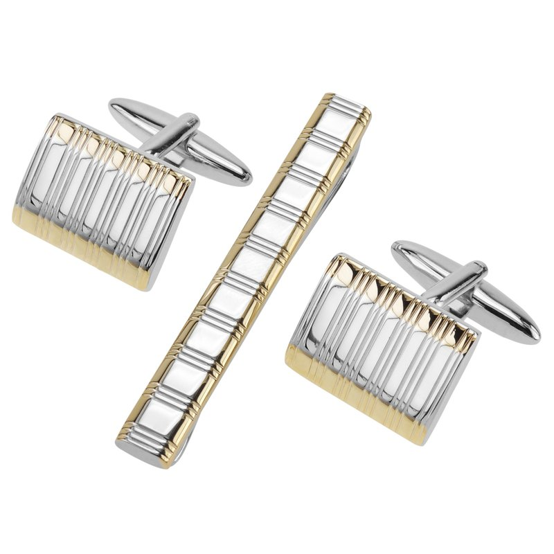 Two Tone Etched Stripes Cufflinks and Tie Clip Set