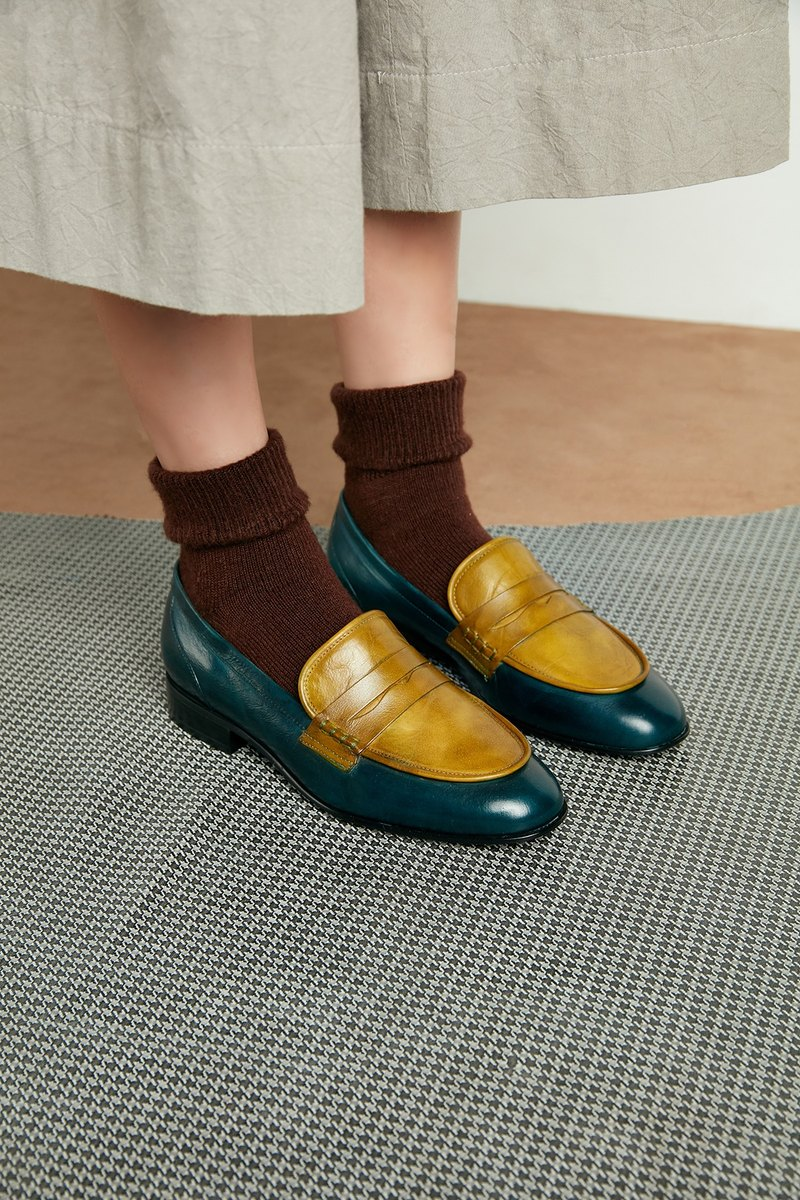 HTHREE Penny Loafers / Moss Green & Malachite Green / Penny Loafers