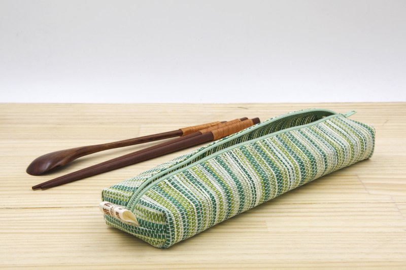 [Paper cloth home] paper line woven large tableware bag corrugated green