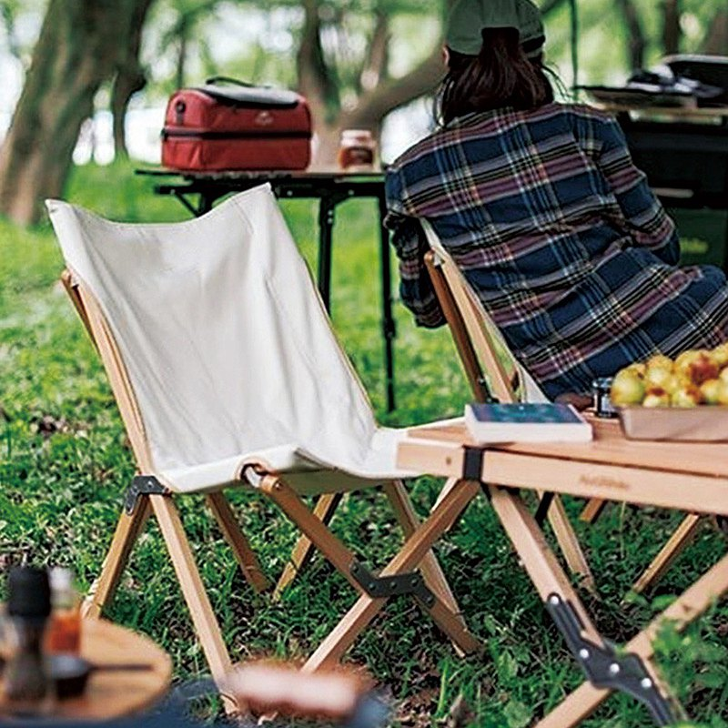 Japan Frost Mountain natural solid wood heavy-duty camping leisure folding chair (with storage bag)