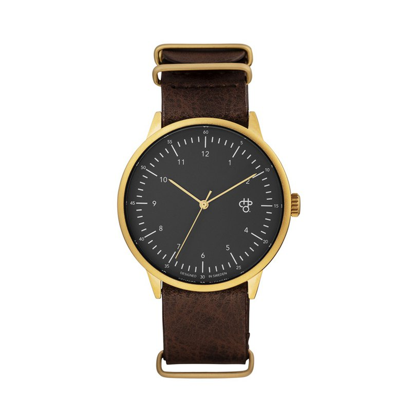Harold series gold black dial brown military leather watch