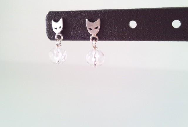 Cats Face Silver + Crystal Earrings