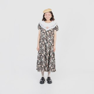 [Egg plant vintage] Paris lunch embroidery double collar printing vintage dress