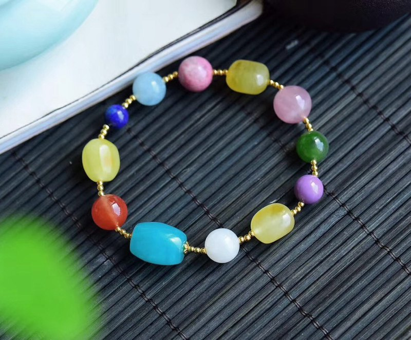 [Welfare price] original boutique natural 9 kinds of gems with bracelet / candy color to get beautiful