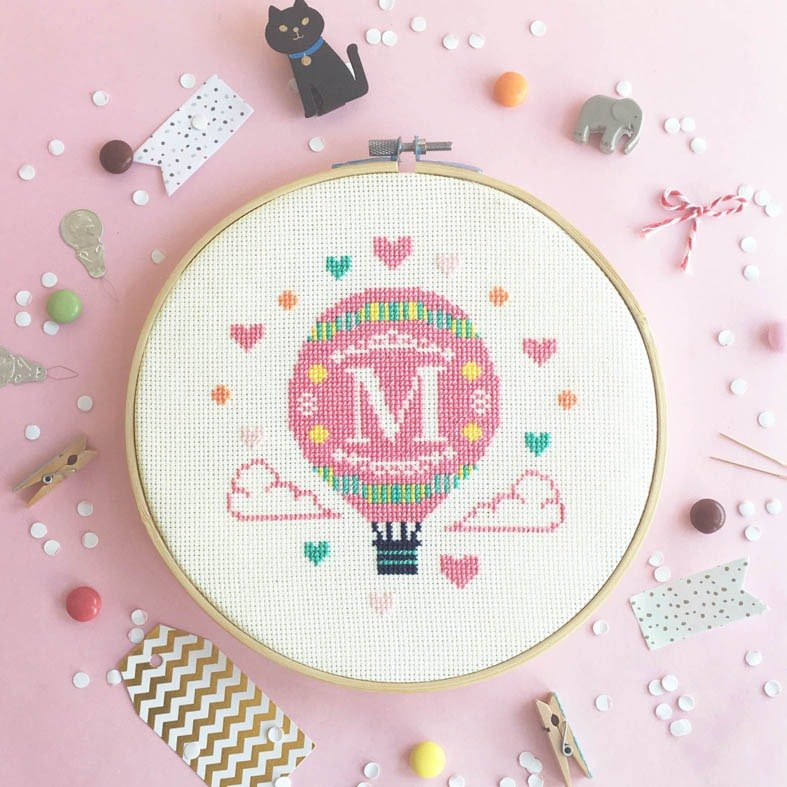 Cross stitch KIT - Hot Air Balloon with Alphabet