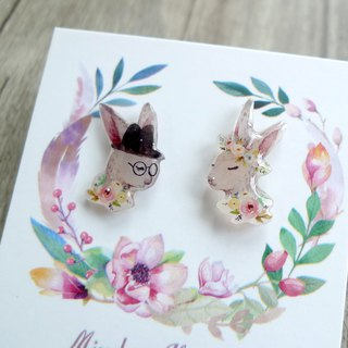 Misssheep-U36-Bunny Rabbit Wedding Hand-painted Style Rabbit Asymmetric Handmade Earrings (Auricular/Ear clips) (pair)