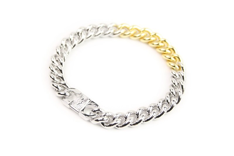 [METALIZE] Radiation M-squared bi-color metal bracelet (gold and silver)