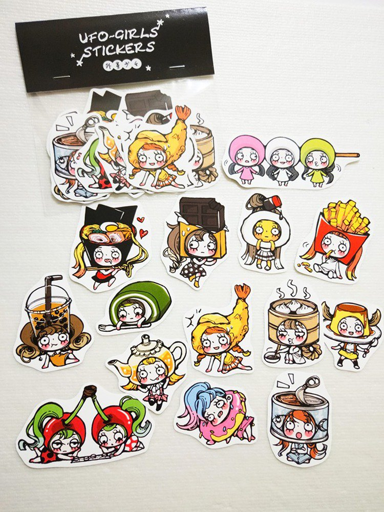 Food girl waterproof sticker set