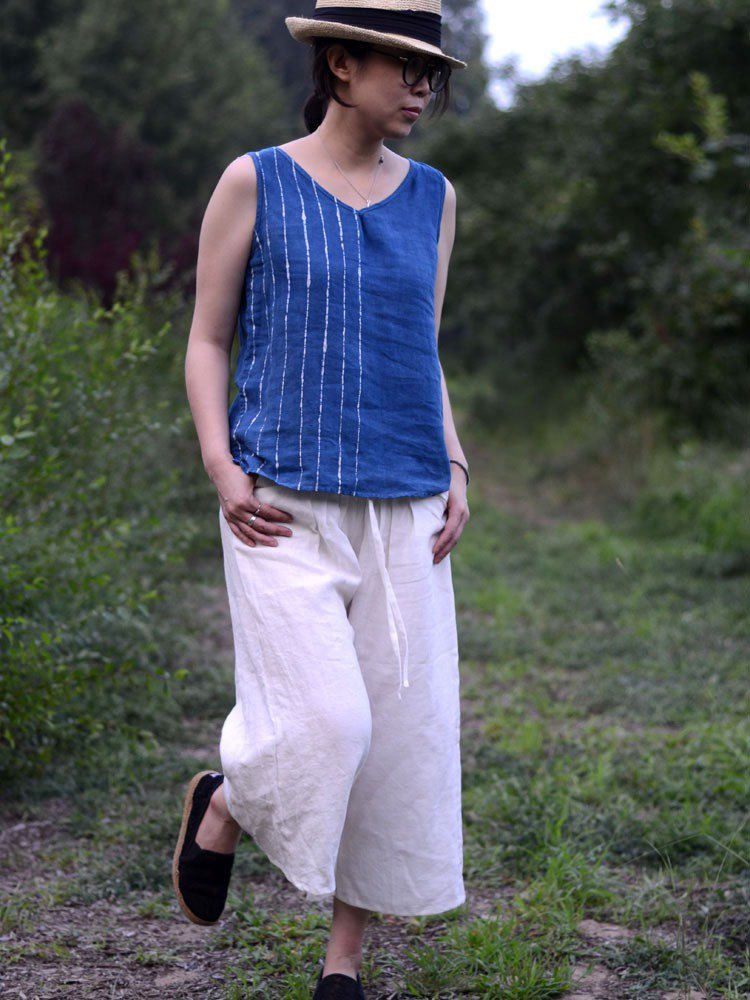 Hand-painted striped batik blue indigo plant dyed linen V-neck sling, vest Natural Dye