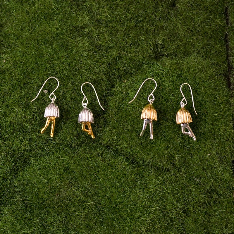 Sterling silver with 18K gold plated mushroom earrings