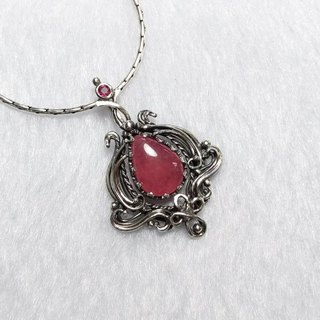 <Pure Silver Series> Red Stone Design Pendant