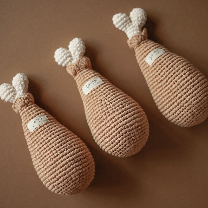 Pure cotton hand-knitted chicken legs