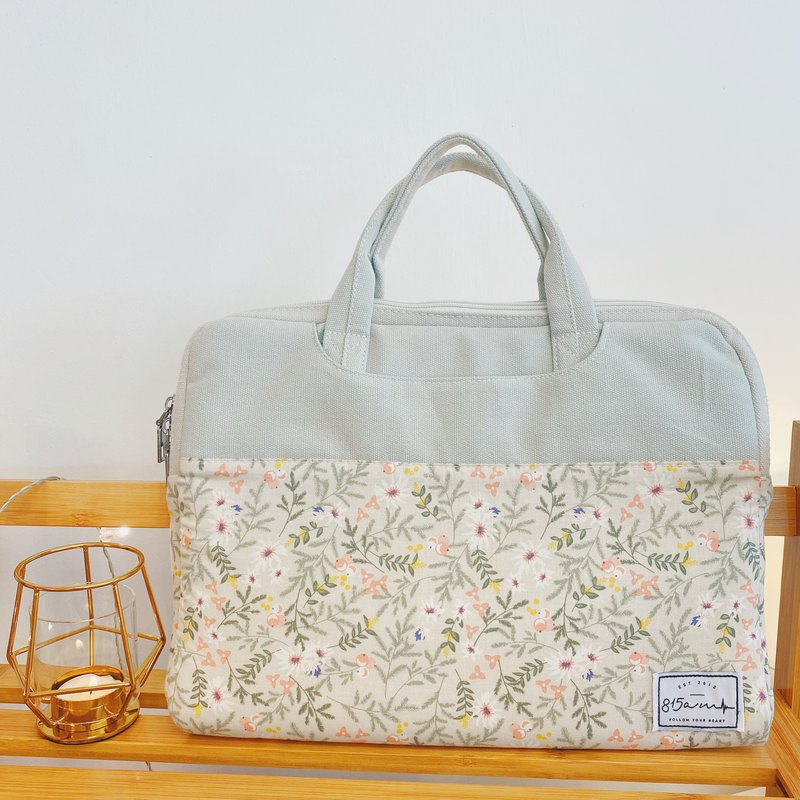 Small Woods Floral-Color-blocking fabric laptop bag (13-14 inches) / 815a.m