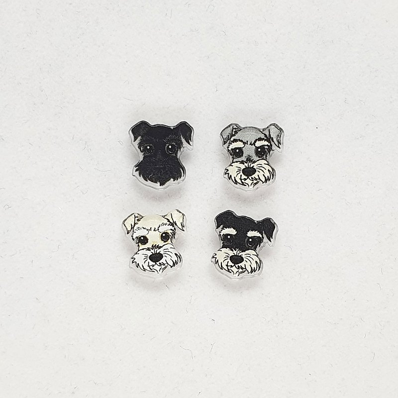 Schnauzer 4 Coat Colors Homemade Cat and Dog Pattern Pet Acrylic Pin / Clip Earrings