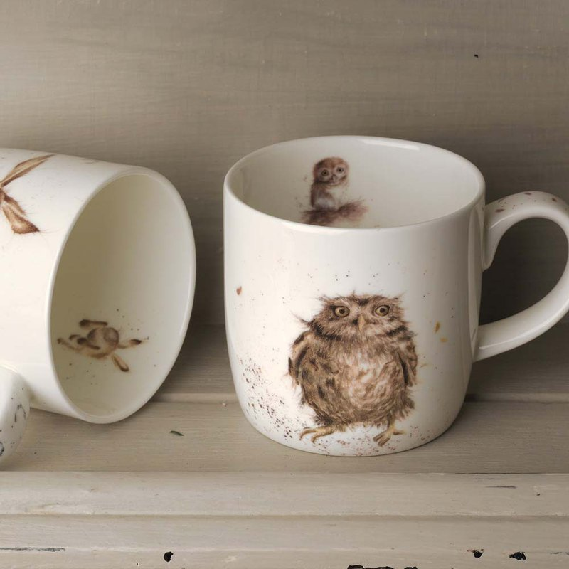 Royal Worcester Wrendale Designs Single What a Hoot (Owl) Fine Bone China Mug